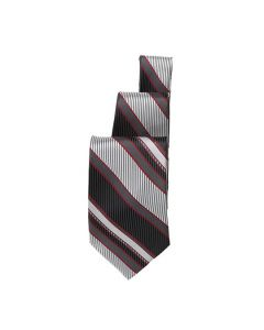 Black/Silver/Burgundy Striped Tie - Hotel Uniforms